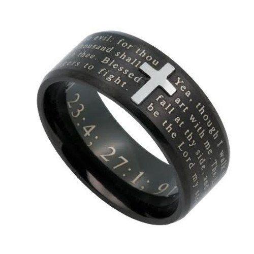 Psalm 23 4 Cross Ring For Men Engraved Bible Verse Black Stainless