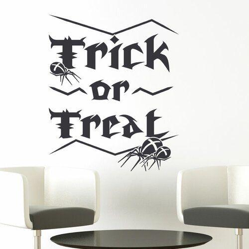 Wandaufkleber Trick or Treat, Spiders East Urban Home Ausführung: Transparent/Rot, Größe: 40 cm H x 48 cm B