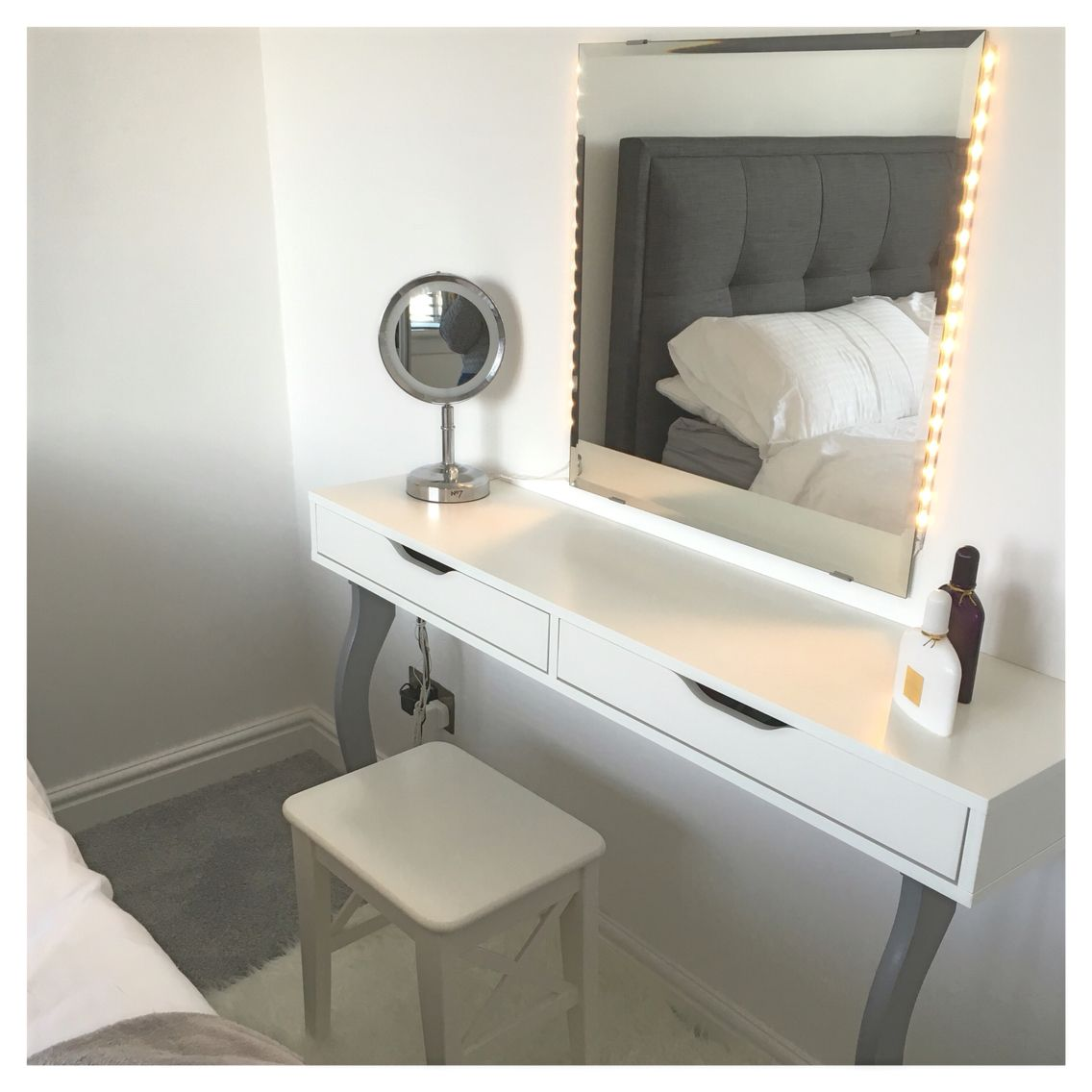 ikea hack ekby alex shelf with kolja mirror and dioder lights diy pinterest ikea hack. Black Bedroom Furniture Sets. Home Design Ideas