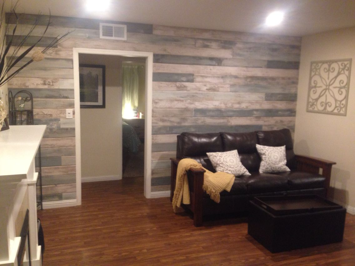 accent wall blue, white, grey stained and tongue and grove