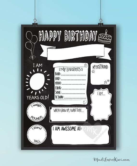 birthday chalkboard template reuseable birthday sign birthday poster printable printable. Black Bedroom Furniture Sets. Home Design Ideas