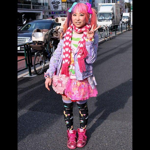 In Harajuku, Japan. (from the tokyofashion Instagram). #japan #japanesefashion #fashion #tokyopop #jpop #pink #pastel #pinkhair #dyedhair