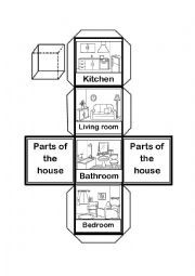 English worksheet: Parts of the House Cube worksheet