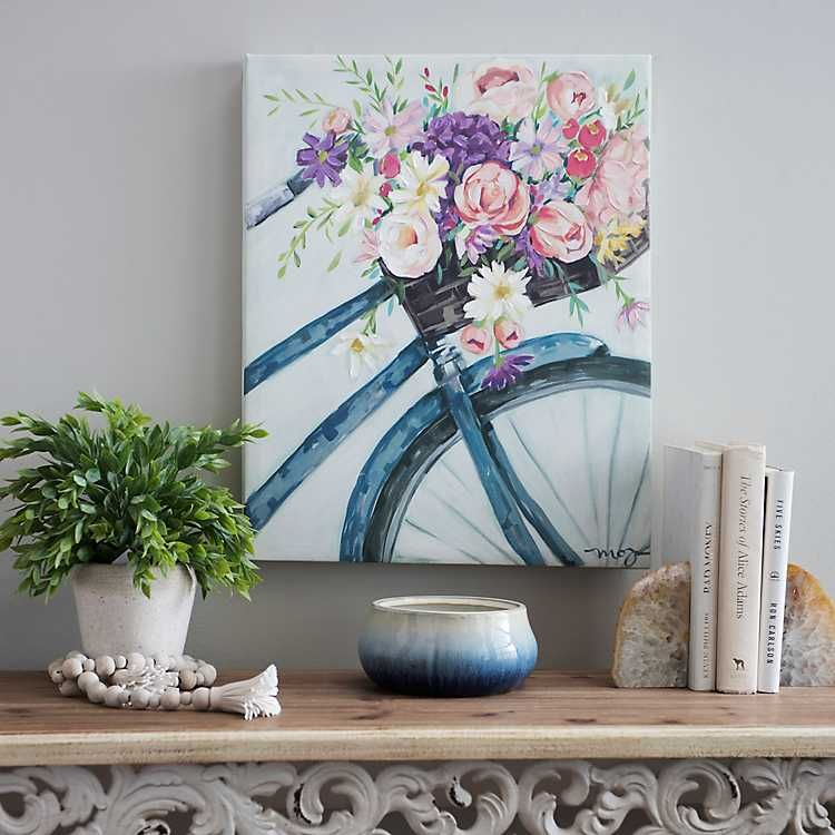 Floral bicycle canvas art print bicycle painting spring