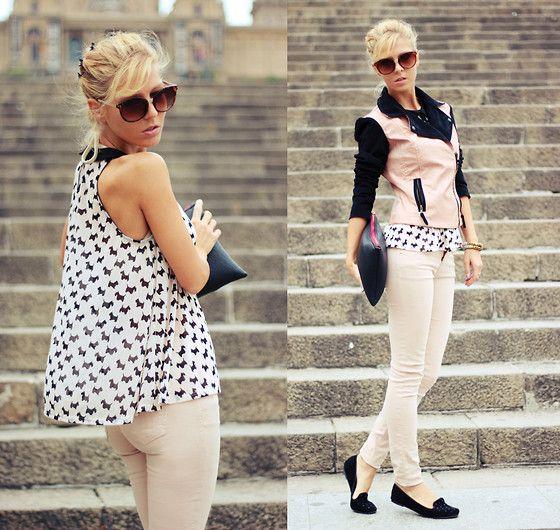 Bershka Jacket, H Sheer Top, Pull And Bear Jeans, New Yorker Slippers, Bershka Clutch