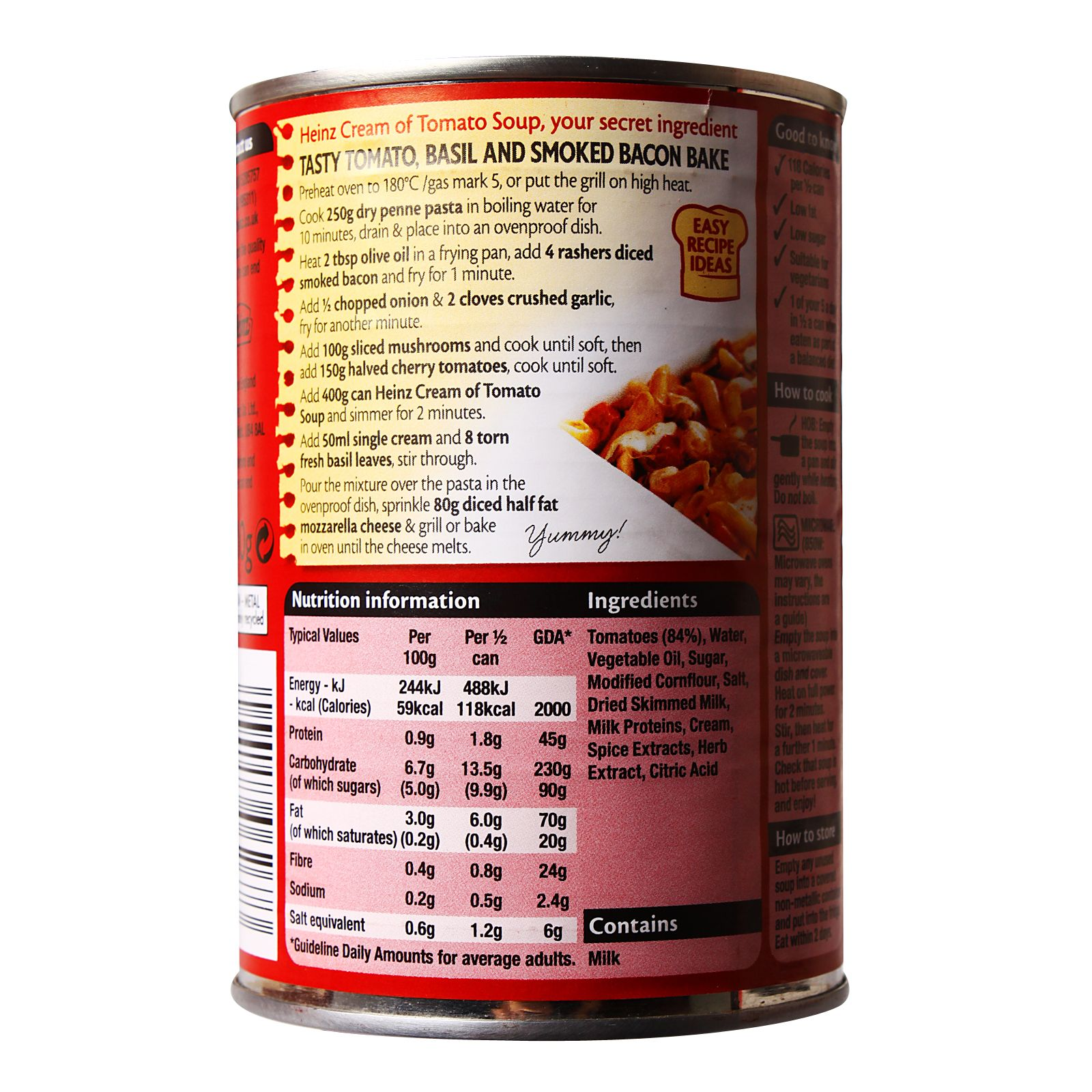 Heinz Singapore Cream Of Tomato Soup Smoked Bacon Ingredient