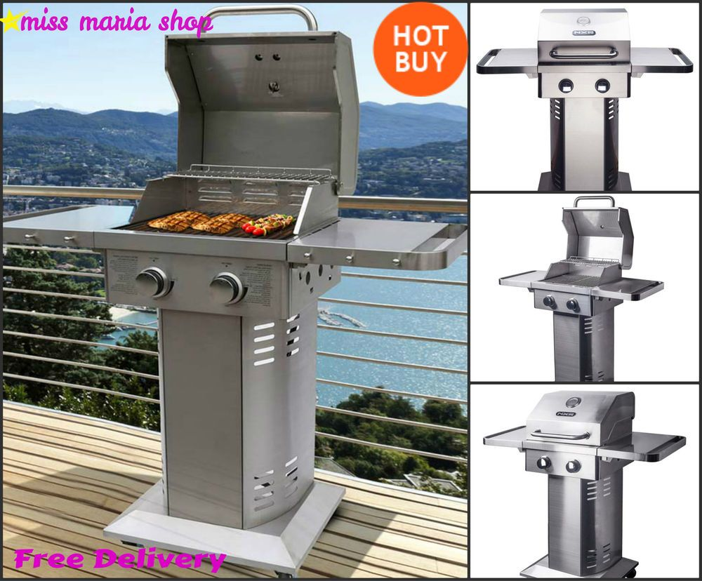 Gas BBQ Grill 2 Burner Cover Stainless Steel Outdoor Party Garden Patio  Wheels