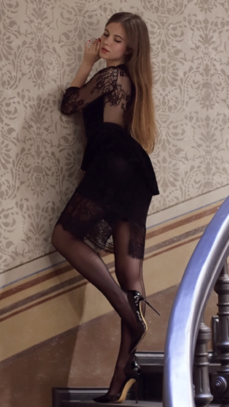Black Lace Dress Seamed Stockings And Heels As First Seen On Blog Help I Have Nothing To Wear Black Lace Dress Seamed Stockings And Heels She Is Wearing