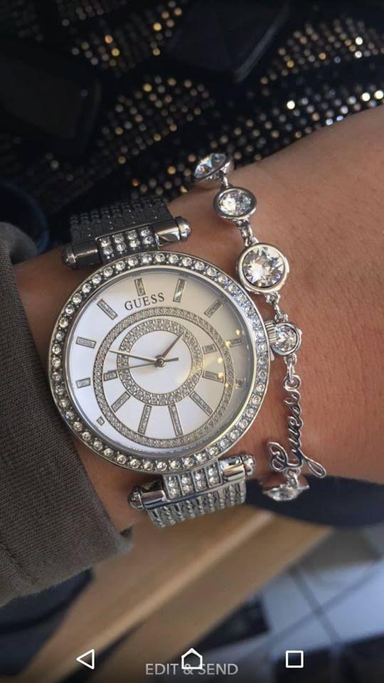 d671cb5344 Guess Muse Watch   Silver Sparkle   Crystal Beauty Bracelet   Layered  Jewellery