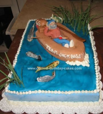 Coolest Homemade Fishing Birthday Cake for My Husbands 65th