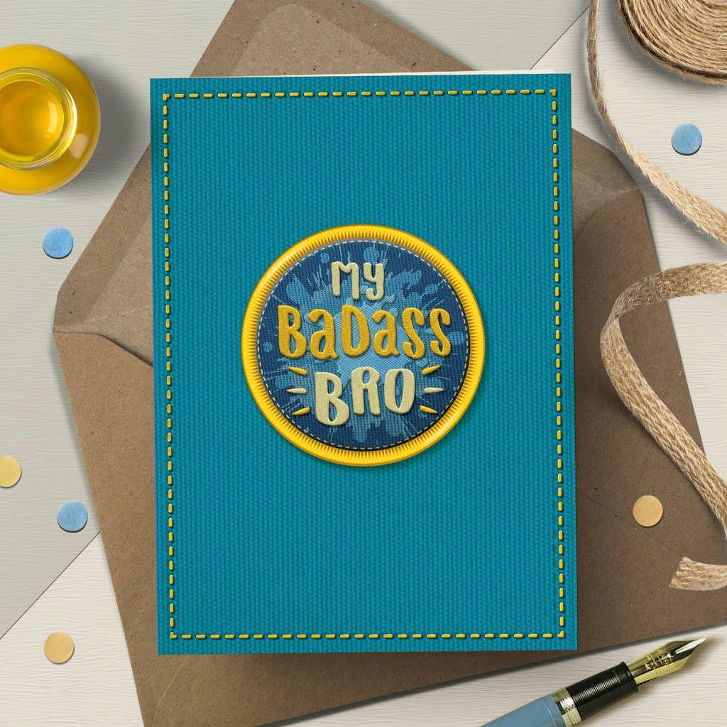 Funny Brother Birthday Card 'Badass Bro' Birthday cards