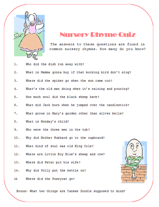 baby shower rhymes for gifts | ... we'll have a gift for the winner, which is a book of Nursery Rhymes