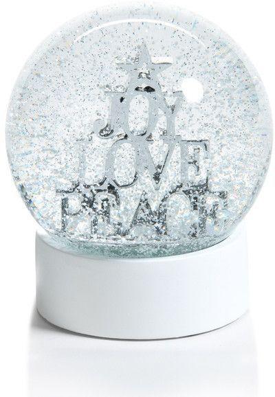 Zodax Joy, Love,  Peace Snow Globe Christmas Decor, Christmas Snow