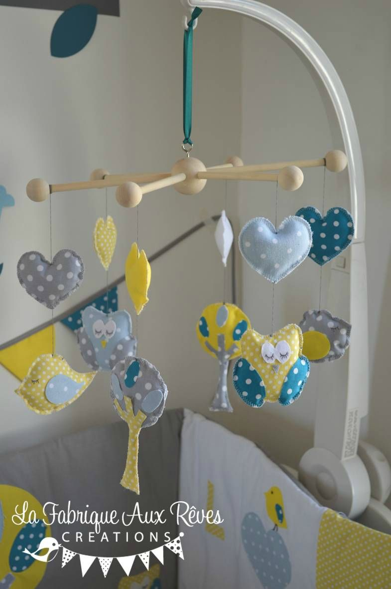 mobile veil b b chouette hibou arbre oiseau nichoir bleu. Black Bedroom Furniture Sets. Home Design Ideas