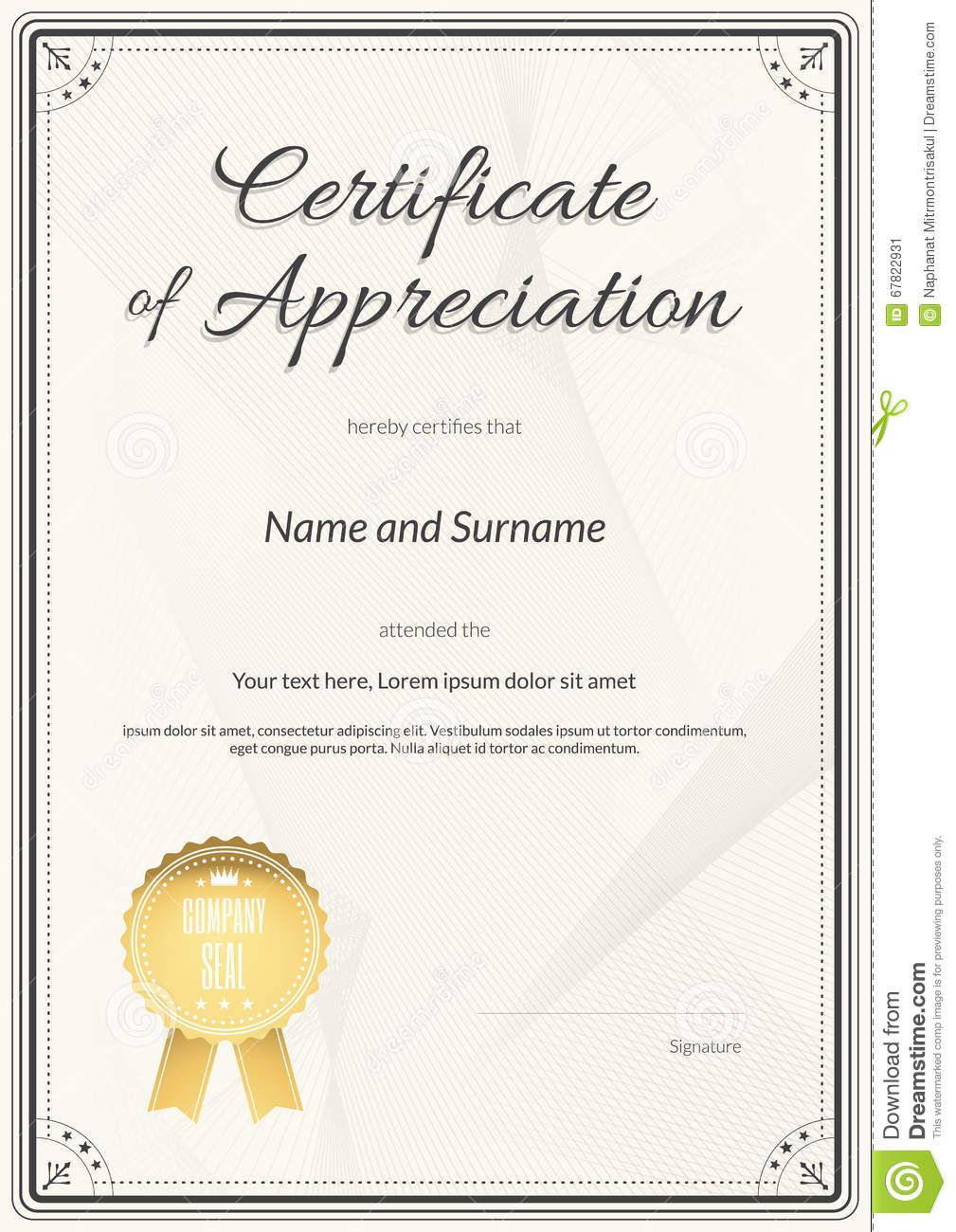 Certificate Of Appreciation Template In Vector Stock Vector Within Certif Certificate Of Achievement Template Certificate Of Appreciation Certificate Templates Army certificate of appreciation template ppt
