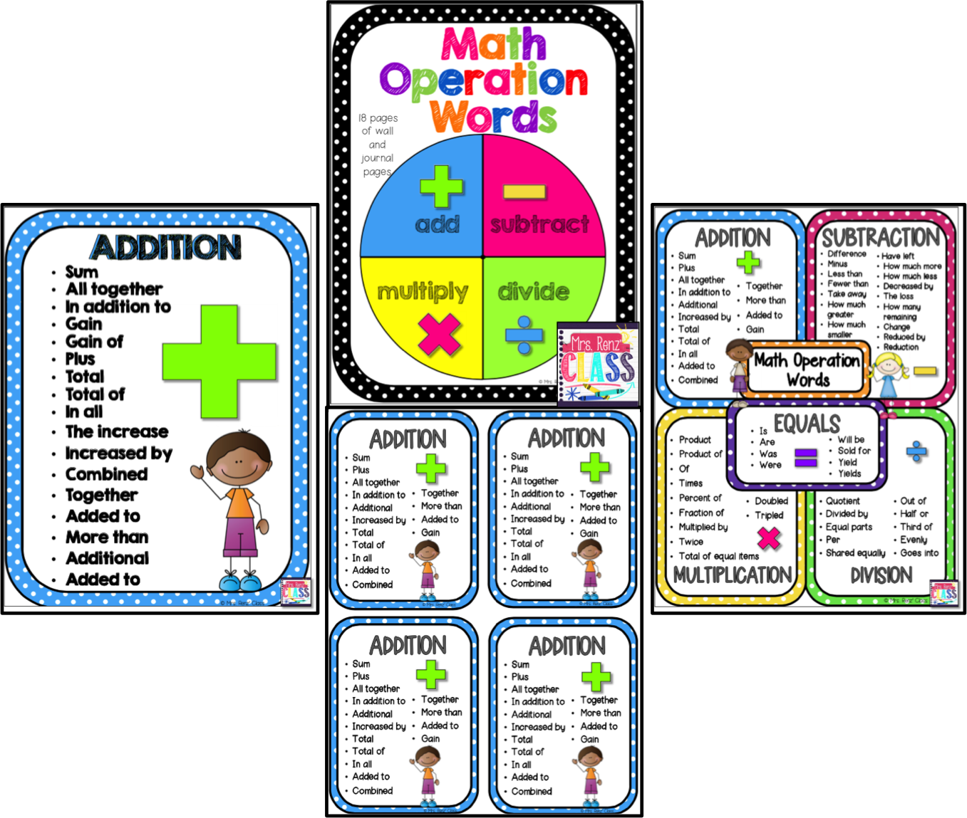 Fine Math Key Words Poster Image - Worksheet Math for Homework ...