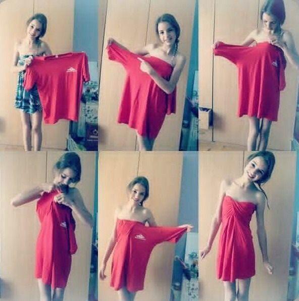 DIY Dress.! Need A Dress.?! Well Grab Your Dads /BF/Husband/Tomboy GF Shirt And Make You Own Dress.!
