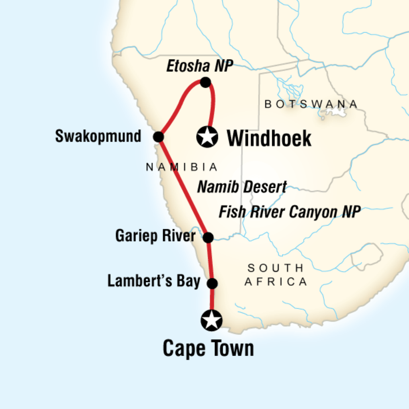 Route map for Cape and Namibia Adventure DACD 12 days classic