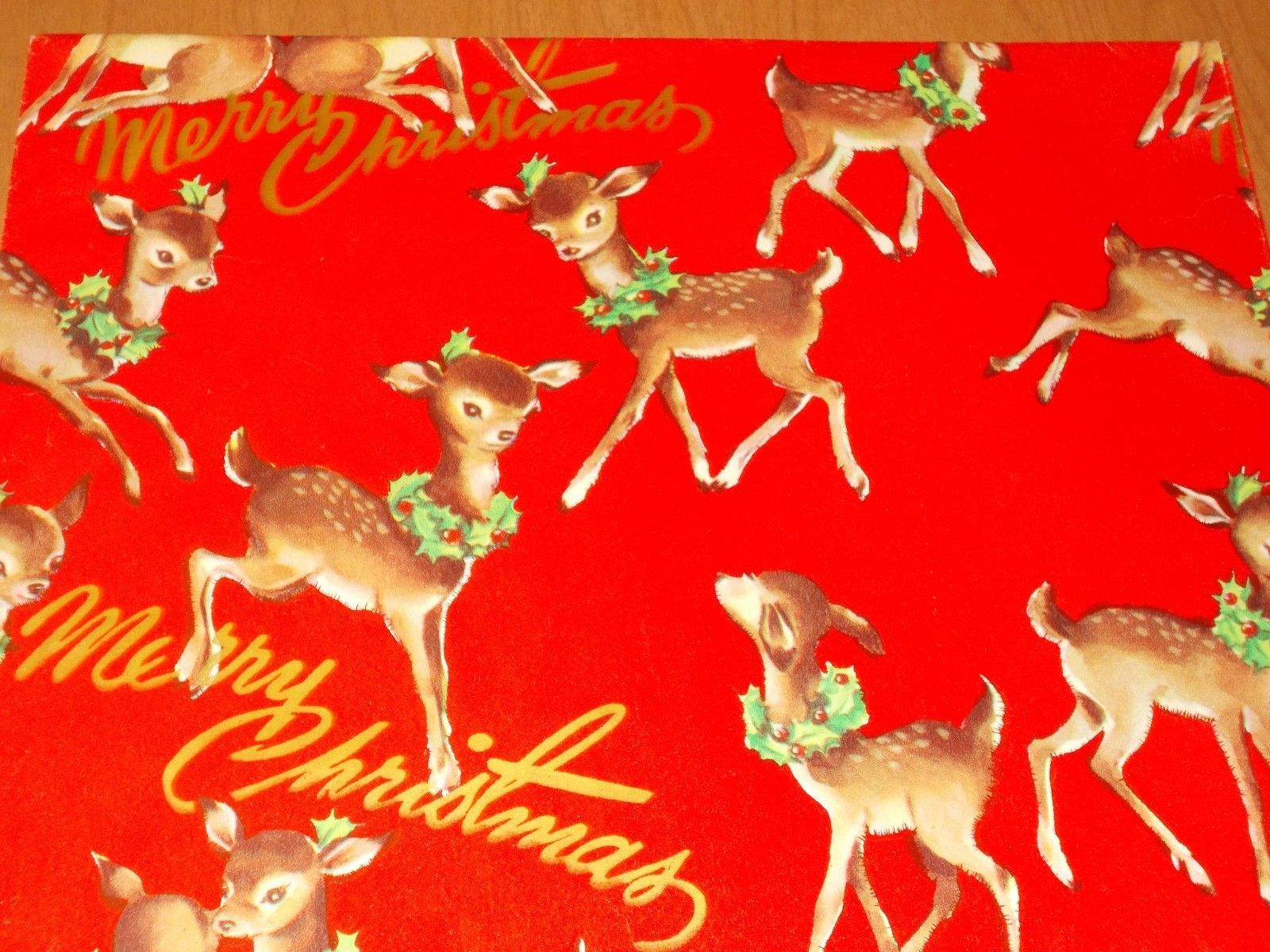 Vtg Christmas Wrapping Paper Gift Wrap Merry Christmas Deer Holly 1940 Nos