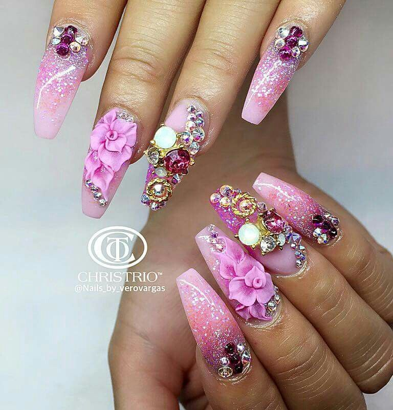 ♡M o n i q u e.M | fancy nails rhinestones | Pinterest | Nail nail ...