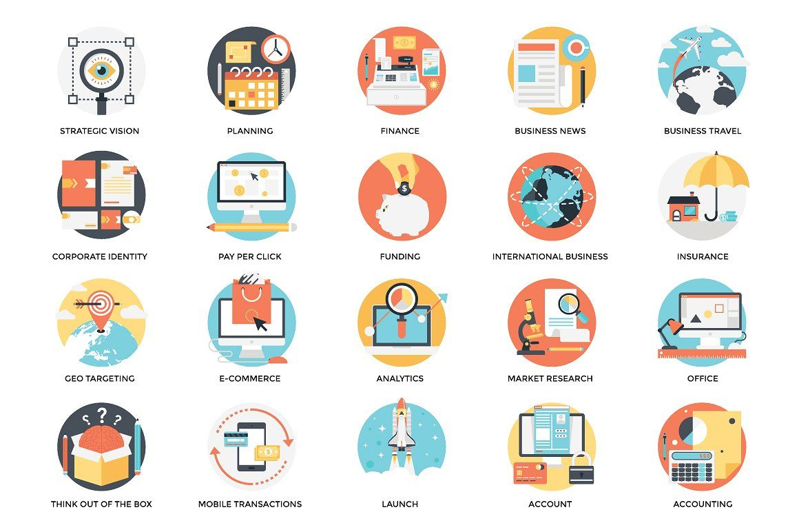 300 Flat Business Icons svgpngepspdf Business icon