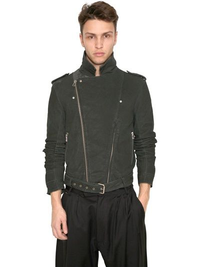 ADIDAS SLVR - STONE WASHED LEATHER BIKER JACKET - LUISAVIAROMA - LUXURY SHOPPING WORLDWIDE SHIPPING - FLORENCE
