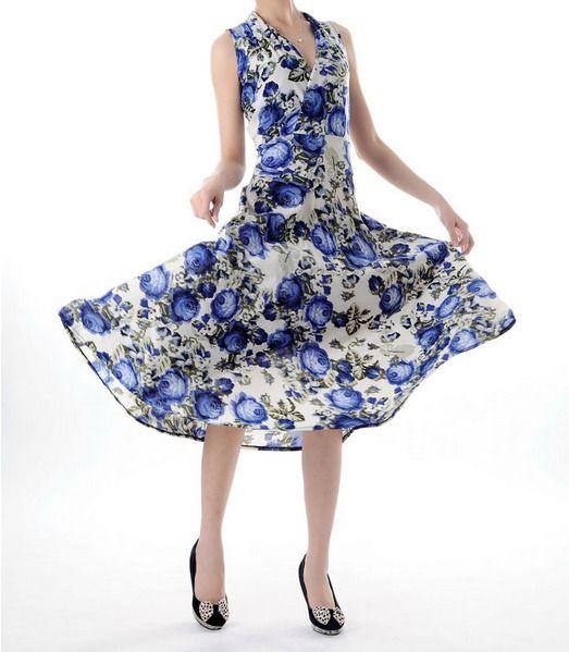 Blue Floral Silk Summer Dress