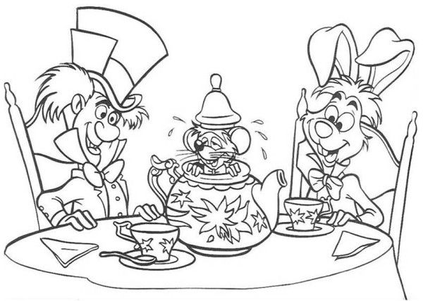 Tea Pots Coloring White Rabbit And Mad Hatter And Teapot Fill With Mous Disney Coloring Pages Alice In Wonderland Drawings Disney Princess Coloring Pages