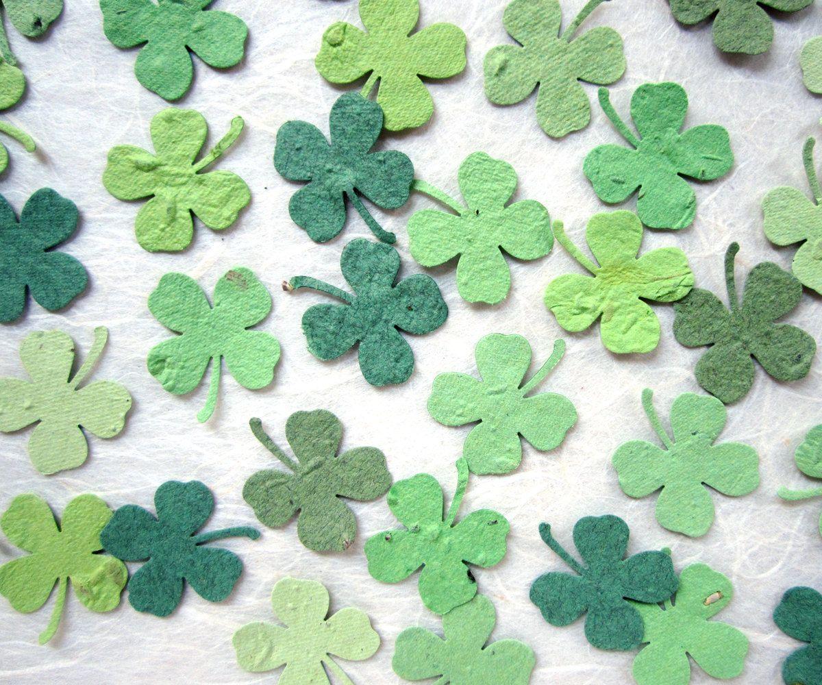 Plantable wedding favors - 200 Plantable Four Leaf Clover Confetti Wedding Favors Plantable Flower Seed Paper 32