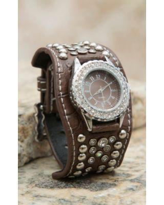 Blazin Roxx® Women's Brown with Crystals & Silver Studs Scallop Cuff Watch