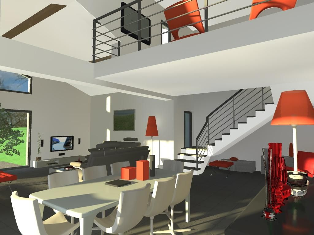 Plan Maison Avec Mezzanine Ouverte Sur Salon  Plan maison, Maison