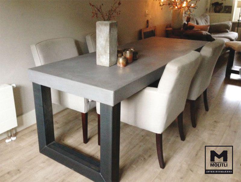 Betonlook tafel met rvs poten door molitli interieurmakers keuken pinterest rvs zoeken en - Eigentijdse keuken tafel ...