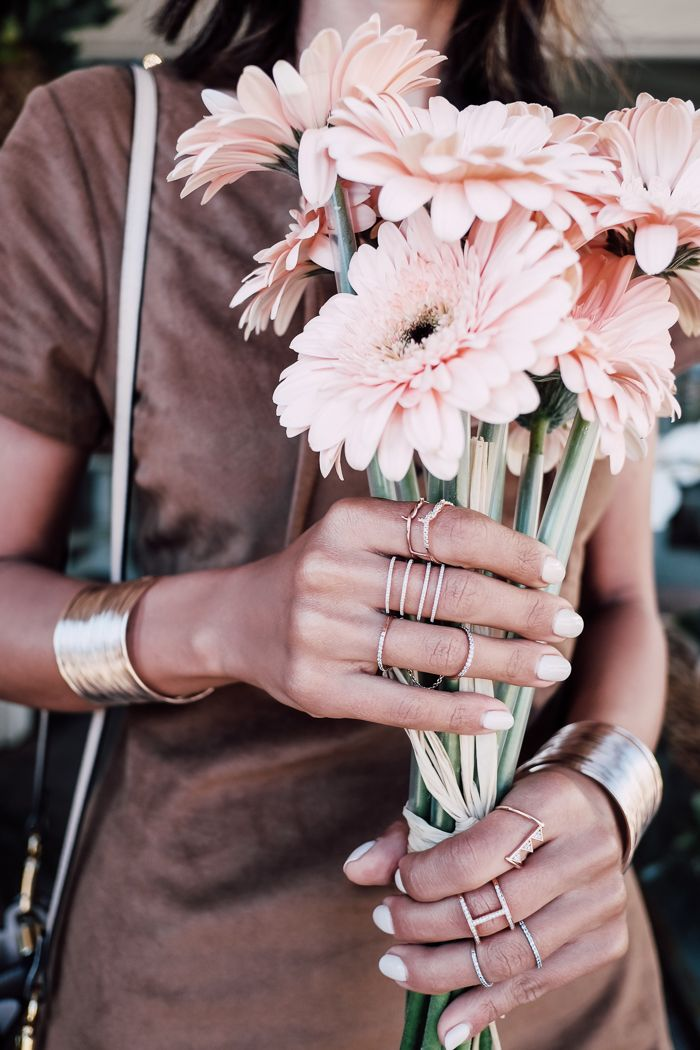 Rose gold rings + cuff bracelets