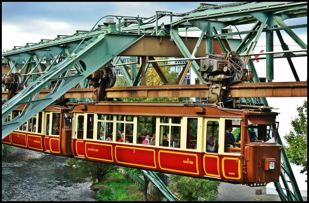 floating tram establised in 1901 in wuppertal an elevated suspended monorail schwebebahn. Black Bedroom Furniture Sets. Home Design Ideas
