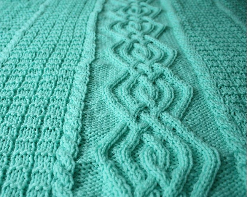 Knitted baby blanket mint green cable afghan warm BL-28   Dos agujas ...