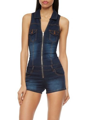 76d9e4dd173 VIP Jeans Denim Romper with Zip Front Rainbow Shop