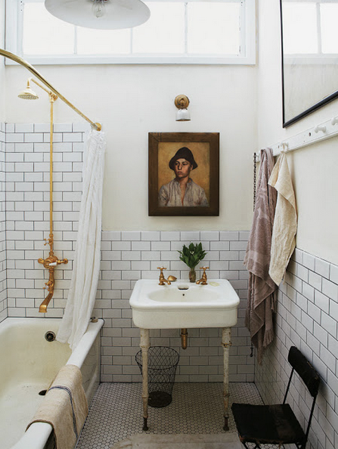 Remodeled Victorian Bathrooms elements of a vintage bath cove molding. pedestal sink. subway