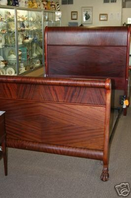 Genial ANTIQUE AMERICAN EMPIRE MAHOGANY SLEIGH BED WITH BEAR CLAW FEET Antiques,  Furniture Styles, Twin