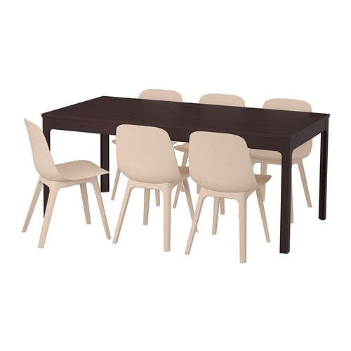 Phenomenal Table And 6 Chairs Ekedalen Odger Dark Brown White Beige Dailytribune Chair Design For Home Dailytribuneorg