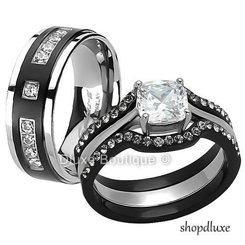 His Hers 4 Pc Black Stainless Steel Anium Wedding Engagement Ring Band Set