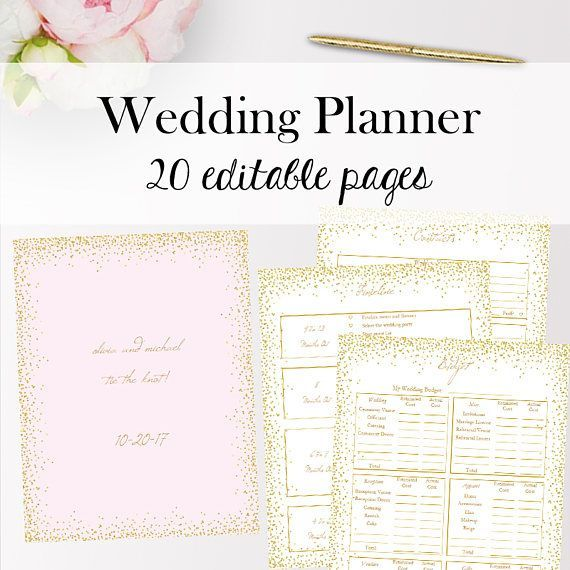 Wedding Planner Template PDF Editable, Wedding Planner Templates PDF