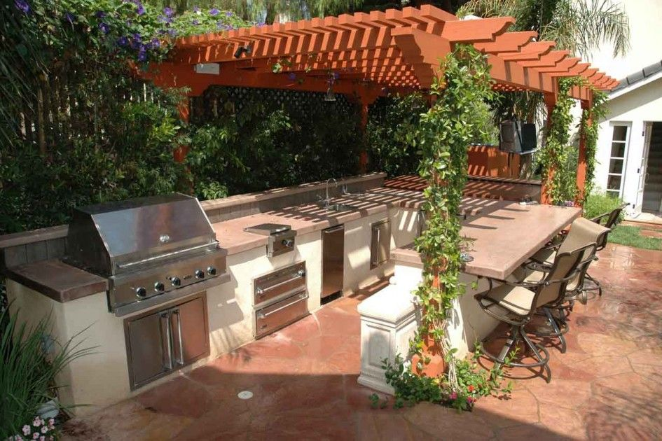 Majestic Pergolas Over Outdoor Kitchens With Small Stainless Steel - Red stone outdoor kitchen