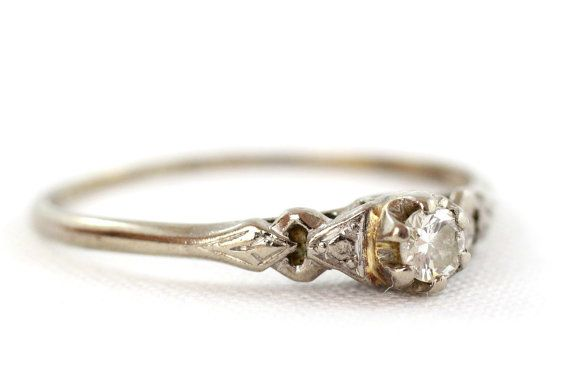 Diamond Solitaire Ring Vintage Engagement Ring White Gold Ring