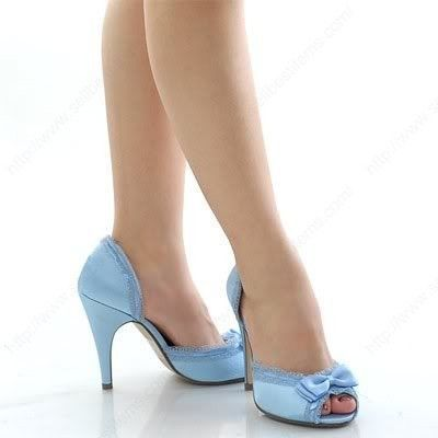 Light Blue Shoes With Feminine Lace And Bow Details