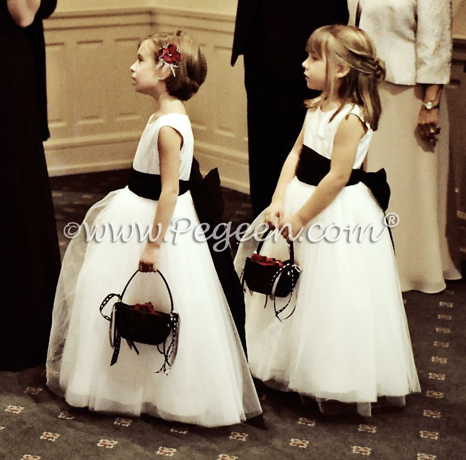 Black And White Tulle Flower Girl Dresses Black Weddings Flower