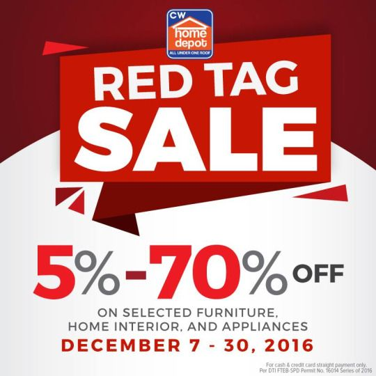 Complete Your Christmas Shopping List For Your Loved Ones Through CW HOME  DEPOT RED TAG SALE!Save As Much As OFF On Selected Furniture, Home Interior  And ...