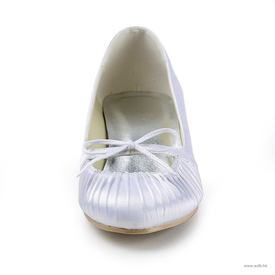 "wedding shower Fabulous 1.5"" Ruffle Bowknot Almond Toe Pumps - White Satin Wedding Shoes (11 colors) $67.98"