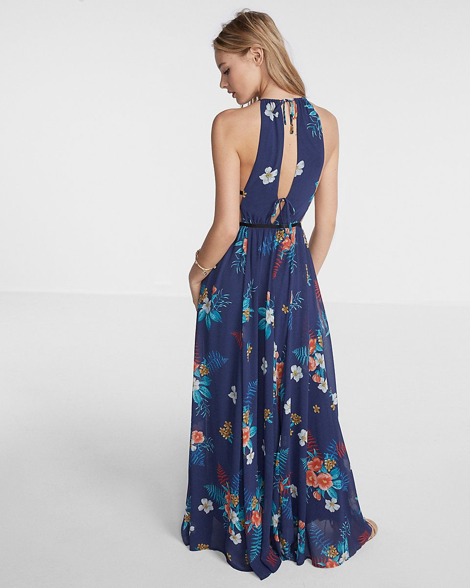7748214219 floral print strappy cut-out plunge maxi dress
