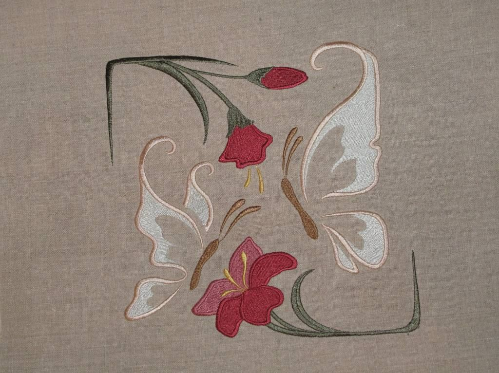 Embroidery Library Butterfly Embroidered On Linen Embroidery