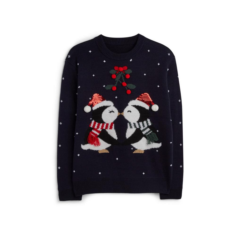 Claudia Penguin Kiss Christmas Jumper Jumpers Sweaters Jumpers Sweaters Clothing Womens Categ Christmas Sweaters Christmas Jumpers Primark